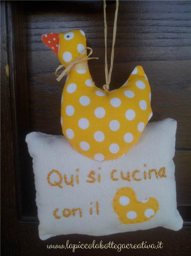 decorazione-cucina-cotone-gialla-pois